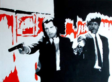 "Pulp Fiction Painting - POP ART - size 24"" x 18"""